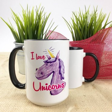 "Kubek XXL (450ml) - ""I love unicorns""."