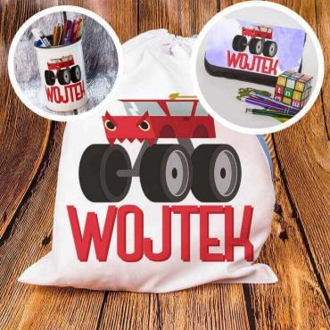 Zestaw szkolny lub przedszkolny Monster Truck - piórnik, worek na papcie, pojemnik na kredki - personalizowany.
