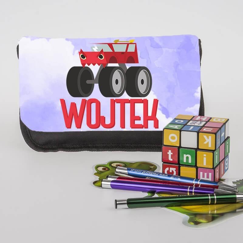 """Piórnik personalizowany z imieniem dziecka z grafiką """"Monster Truck""""."""