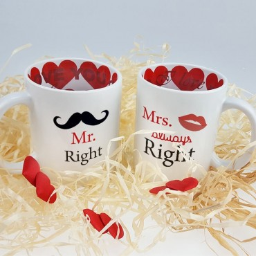 "Zestaw kubków ""Mr. Right and Mrs. always right""."