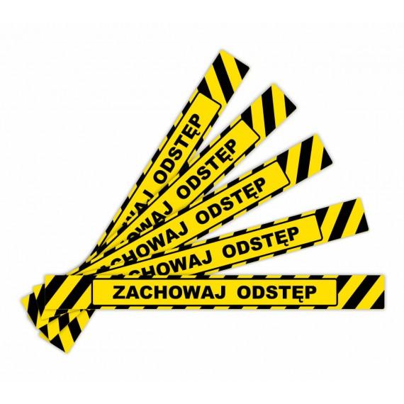 Naklejki ostrzegawcze Zachowaj Odstęp - paski na podłogę - różne wzory.