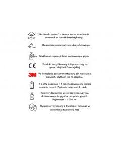 Dozownik bezdotykowy na płyn do dezynfekcji rąk - PULSAR 1000.