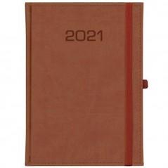 Kalendarz książkowy Tygodniowy - B5 – Classic z gumką - brązowy