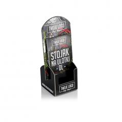 Stojak kartonowy na ulotki DL z Twoją reklamą.