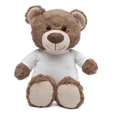 Miś Big Teddy brązowy z koszulką do sublimacji - 38 cm cały.