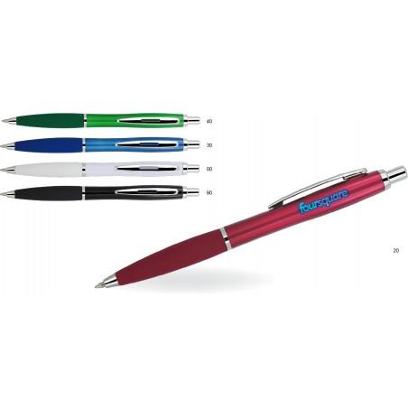 Długopis plastikowy z gumowym uchwytem Ishan
