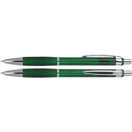 Długopis plastikowy z gumowym uchwytem i metlaowym kilpem Fumaria