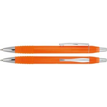 Plastikowy długopis z gumowym uchwytem i metalowym klipem Girmon