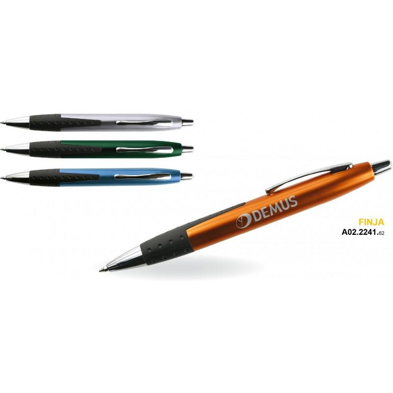 Długopis aluminiowy z gumowym uchwytem Finja