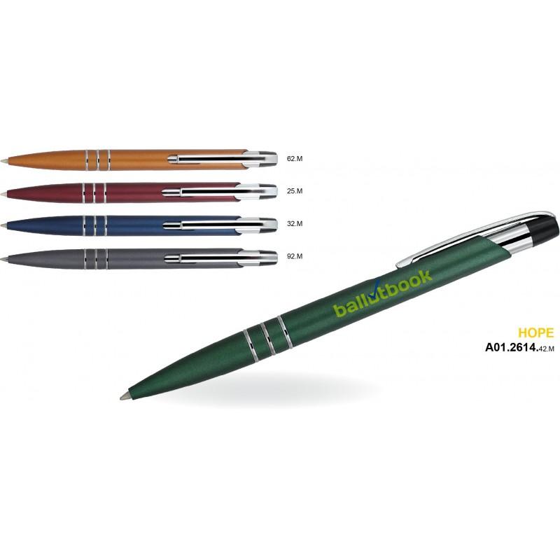 Długopis plastikowy z metalowymi dodatkami Hope