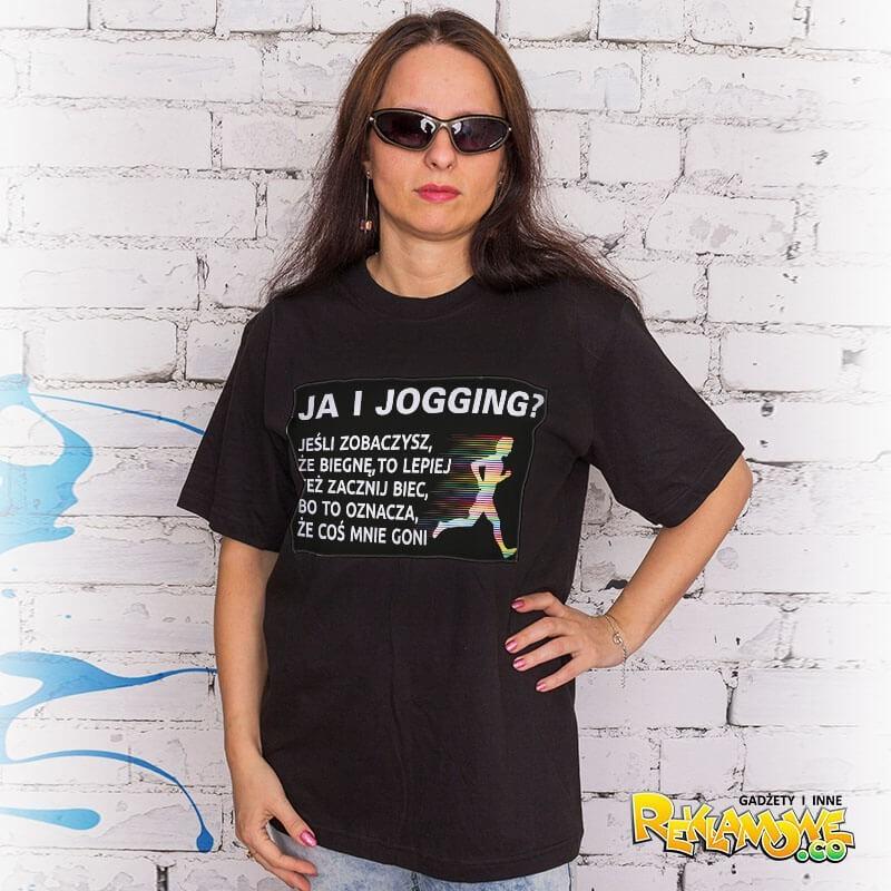 "Koszulka z tekstem ""Ja i jogging"" UNISEX (T-shirt) bawełniana."