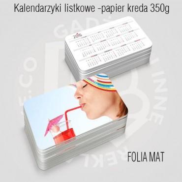 Kalendarz listkowy Folia mat dwustronnie