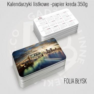 Kalendarz (kalendarzyk) listkowy z folią błysk już od 100szt.
