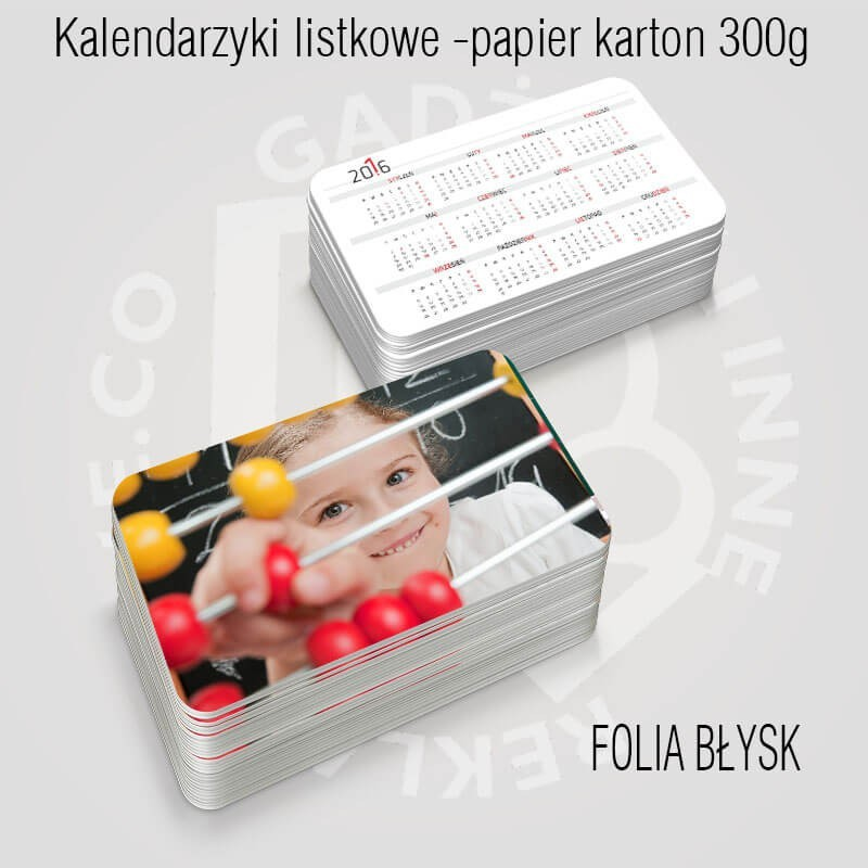 Kalendarz listkowy Folia błysk dwustronnie