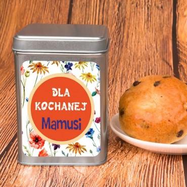 """Personalizowana puszka na herbatę """"Dla kochanej Mamusi""""."""