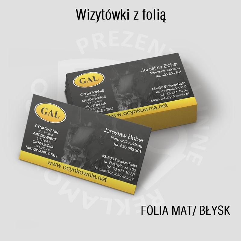 Wizytówki  folia mat lub błysk, od 250szt