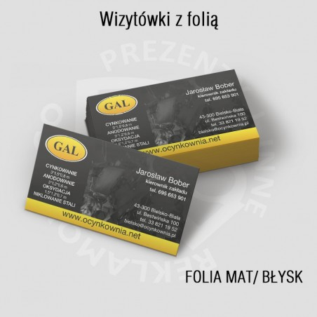 Wizytówki 2str., folia mat lub błysk, od 250szt