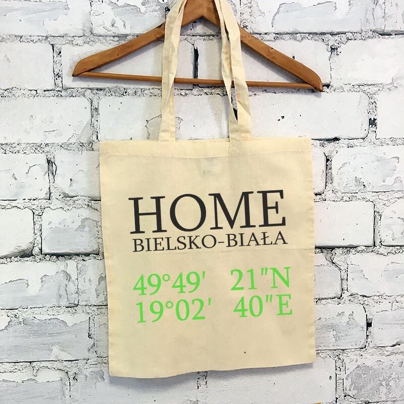 """Torba ekologiczna bawełniana z długimi uszami z tekstem """"Home Bielsko"""""""