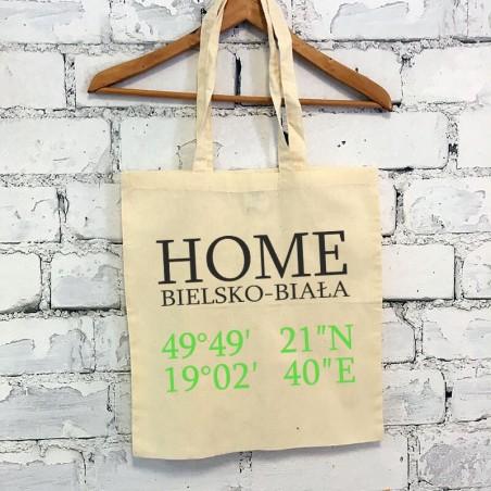 """Torba ekologiczna bawełniana z długimi uszami z tekstem """"Home Bielsko-Biała"""""""