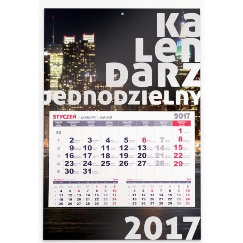 Kalendarz jednodzielny - płaska główka, folia błysk - od 10 szt.